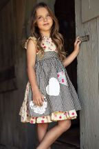 Mustard Pie Strawberry Field Apron Dress Nora (3T,6X,7,8)