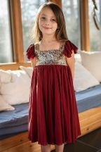 Mustard Red Shimmer  Dress Snowfall (2T,6,6X,7)