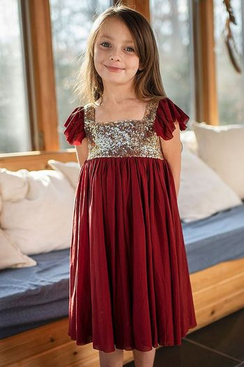 Mustard Red Shimmer  Dress Snowfall (2T,6X,7)