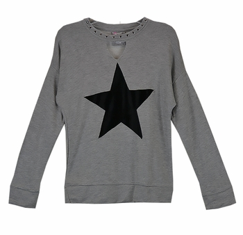 Flowers by Zoe One Star Studded Collar Sweatshirt SOLD OUT