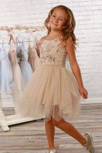 Ooh La La Couture Aria Tulle Dress with Beading in Sand