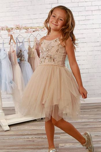 Ooh La La Couture Aria Tulle Dress with Beading in Sand SOLD OUT