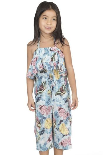 Paper Wings Vintage Butterfly Roses Romper (Size 7)