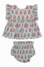 Pink Chicken Baby Set In Vintage Floral (3-6Mos,12-18Mos,18-24Mos)