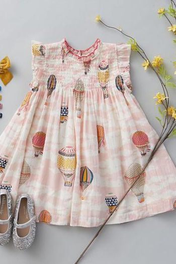 Pink Chicken Hot Air Balloons Girls Dress (7 & 8)