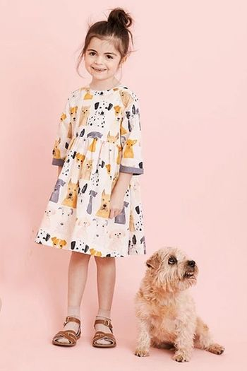 Pink Chicken Olive Dress with Dogs