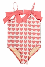 Pink Chicken Rapture Rose Hearts One Piece Swimsuit (Size 8)