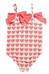 Pink Chicken Rapture Rose Hearts One Piece Swimsuit (Size 8) Alternate View