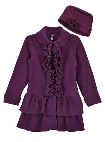 Plum Ruffle Pretty Topper Coat