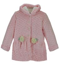 Plush Pink Faux Fur Hooded Coat (Size 6)