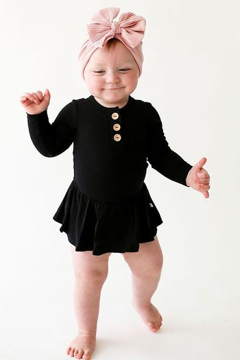 Posh Peanut Black Long Sleeve Henley Twirl Bodysuit (Sizes 0 to 18Mos)