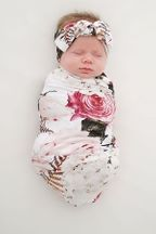 Posh Peanut Black Rose Swaddle and Headwrap Set