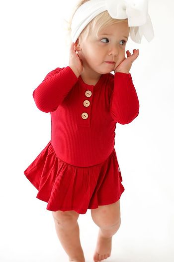 Posh Peanut Crimson Long Sleeve Bodysuit Henley (Sizes 0 to 18Mos)