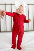 Posh Peanut Crimson Ruffled Footie One Piece (NB & 6-9Mos)