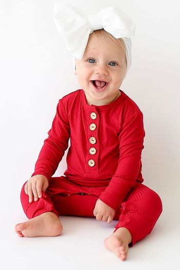 Posh Peanut Crimson Ruffled Henley Romper (Sizes 0 to 18Mos)