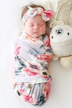 Posh Peanut French Gray Swaddle and Headwrap Set