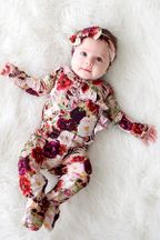 Posh Peanut Gracie Floral Kimono Set with Headband (Size 0-3Mos)