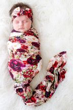 Posh Peanut Gracie Floral Swaddle with Headwrap