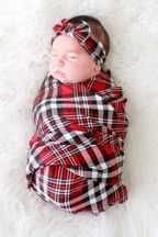 Posh Peanut Noah Plaid Swaddle and Headwrap Set