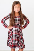 Posh Peanut Plaid Twirl Dress with Long Sleeves (Size 2T to 6)