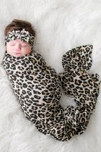 Posh Peanut Swaddle and Heandband Set Lana Leopard