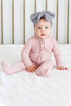 Posh Peanut Sweet Pink Footie Zippered (Sizes Newborn to 12Mos)