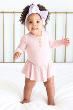 Posh Peanut Sweet Pink Henley Twirl Skirt Bodysuit (Sizes 0 to 24Mos)