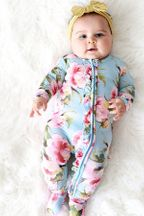 Posh Peanut Zipper Footie Carolina Floral