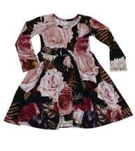 Posh Peanut Zoey Floral Twirl Dress with Long Sleeves (Size 3T)