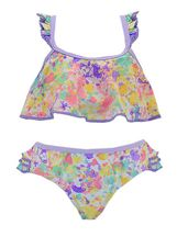 Purple and Pink Splash Bikini for Girls (2T,3T,4,6,6X)