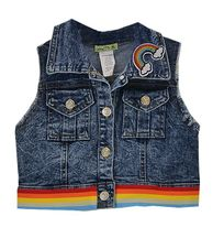 Rainbow Crop Denim Vest (6 & 7)