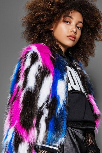 Runway Ready Multi Color Faux Fur Jacket (Size XL 14)
