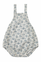 Rylee and Cru Roses Norah Romper Blue (Size 2-3)