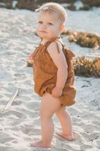 Rylee and Cru Ruffle Romper in Bronze (Sizes 3Mos to 2/3)