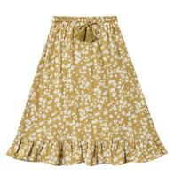 Rylee and Cru Scattered Daisy Ruffle Midi Skirt (Size  8/9)
