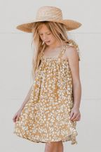 Rylee and Cru Scattered Daisy Shoulder Tie Dress (Sizes 2/3 to 8/9)
