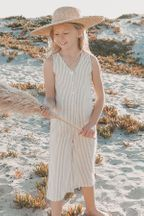 Rylee and Cru Stripe Bridgette Jumpsuit in Olive (Sizes 2/3 to 8/9)