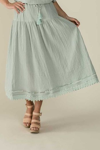 Rylee and Cru Woman's Mila Maxi Skirt Seafoam (Size XS 0)