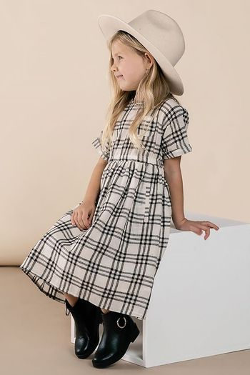 Rylee & Cru Check Kat Dress in Black (Size 0 to 4/5)