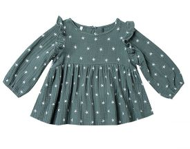 Rylee & Cru Northern Star Blouse in Spruce (0-3Mos,3-6Mos,12-18Mos)