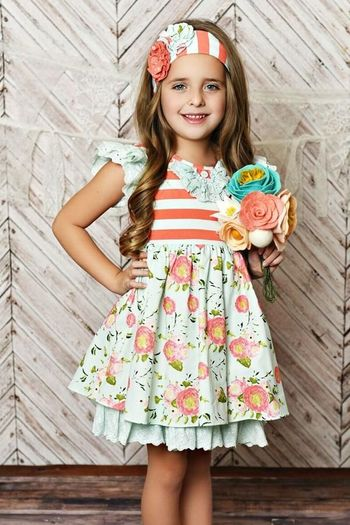 Serendipity Coral & Blue Dress with Shorties (6Mos,12Mos,18Mos,24Mos,3T,4T)