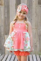 Serendipity Coral Vine Polka Dot Dress with Shorties (3T,4T,5)