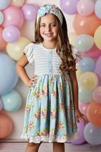 Serendipity Enchanted Meadows Lace Trim Dress with Shortie (2T,4,5)