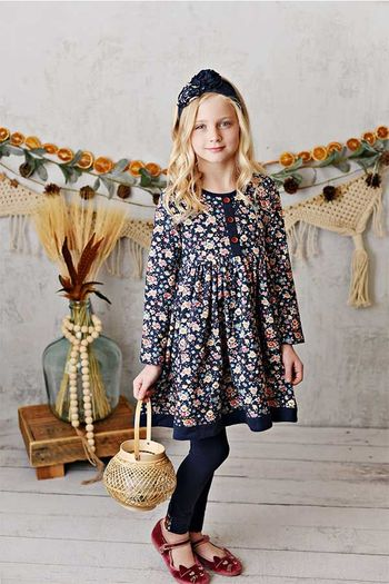 Serendipity Fields Navy Bloom Dress with Legging (Size 3T)