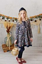 Serendipity Fields Navy Bloom Dress with Legging