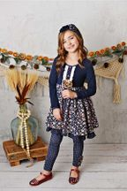 Serendipity Fields Navy Dress with Dot Leggings