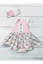 Serendipity French Rose Bubble Dress for Infant (Size 9Mos)
