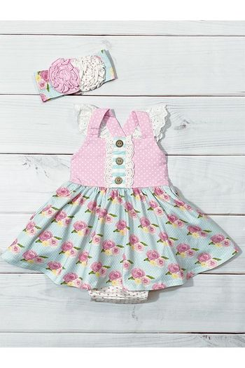 Serendipity French Rose Bubble Dress for Infant (Sizes 3Mos to 24Mos)