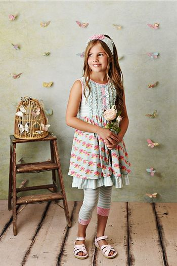 Serendipity French Rose Dress with Capri (Size 2T to 10)
