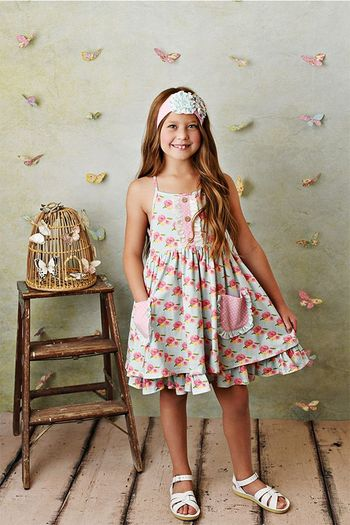 Serendipity French Rose Pocket Dress with Shortie (2T,4T,4,5,6,8)